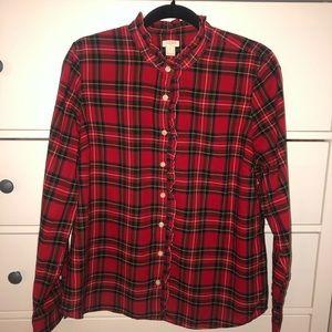 J. Crew Tartan Plaid Ruffle-Front Shirt